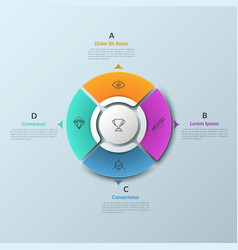 pie chart divided into 4 separate sectors and vector image