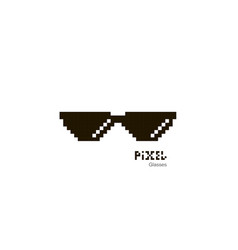 Pixel glasses sunglasses pixel glasses icon in vector