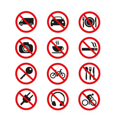 Prohibition signs set safety on white background vector