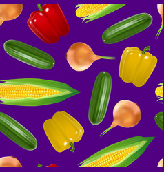 realistic detailed 3d vegetables seamless pattern vector image