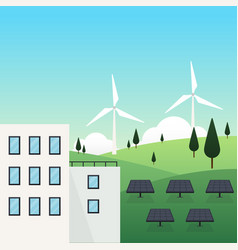 renewable energy city concept vector image