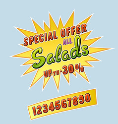 Salads promotional sticker vector