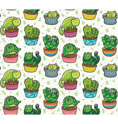 seamless pattern with succulents and vector image