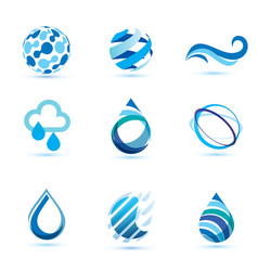 set of abstract blue symbols water drops and wave vector image