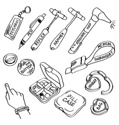 set of hand drawn medical supplies doodles vector image