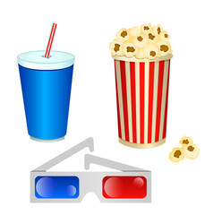 set of of cinema consisting of 3d glasses and a vector image
