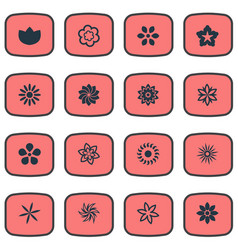 set simple blossom icons vector image