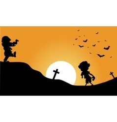Silhouette of zombie and bat halloween vector
