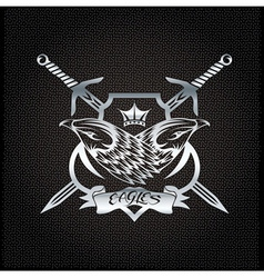 Silver eagle with crown and swords crest on metal vector