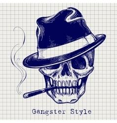 sketch gangster skull vector image