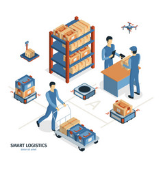 Smart logistics isometric composition vector