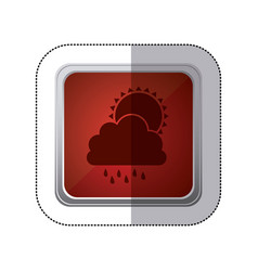 sticker red square button with silhouette cloud vector image