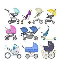 stroller baby-stroller and kids buggy with vector image