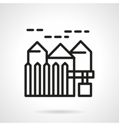 Suburban real estate simple line icon vector image