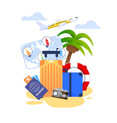 Summer vacation cartoon with travel essentials vector