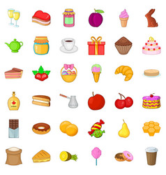 Sweet icons set cartoon style vector