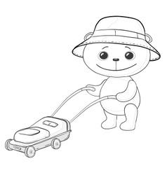 Teddy bear lawnmower contours vector