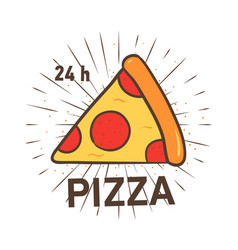 trendy logotype with pizza slice and radial rays vector image