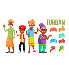 Turban set classic and modern turban hat vector