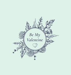 valentines day abstract botanical label with round vector image