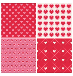 Valentines Day Heart Patterns - 4 Patterns vector image