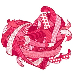 Valentines pink heart made from various ribbons vector