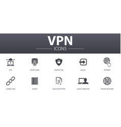 Vpn simple concept icons set contains such icons vector