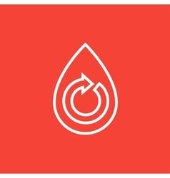 Water drop with circular arrow line icon vector