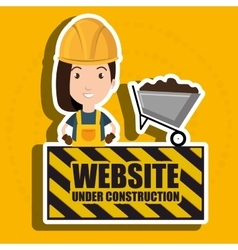 Woman website under construction avatar vector