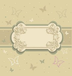 background with butterflies on the frame vector image