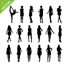 Sexy women silhouettes set 17 vector image