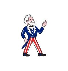 Uncle Sam Waving Hand Crest Cartoon vector image vector image