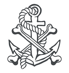 Anchor with rope and crossed bones vector image