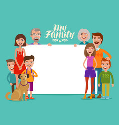 big happy family banner people parents and vector image