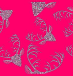 deer heads seamless pattern vector image