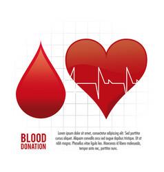 Drop heart pulse blood donation icon vector