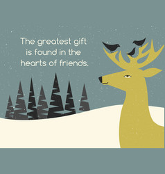 holiday greeting card with deer and bird friends vector image vector image