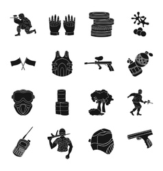 Paintball set icons in black style Big collection vector image