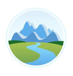 alps in cartoon style vector image