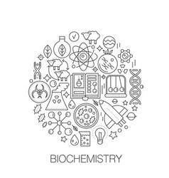 biochemistry genetics in circle - concept line vector image