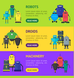 cartoon cute toy robots banner horizontal set vector image vector image
