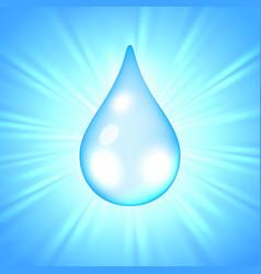 drop of water on sunburst background vector image