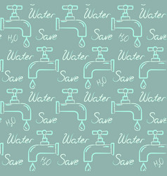 ecology seamless pattern with save water text vector image