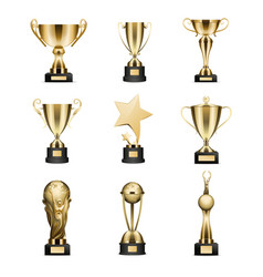 golden trophy cups collection isolated on white vector image