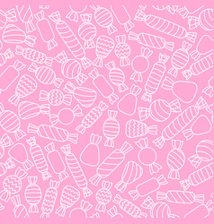 outlined white candies on the pink background vector image vector image