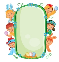 Poster with young children in Easter costumes vector image vector image