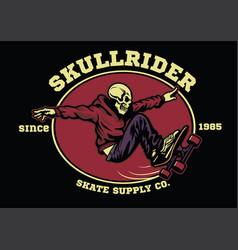 skull skateboarder badge vector image vector image
