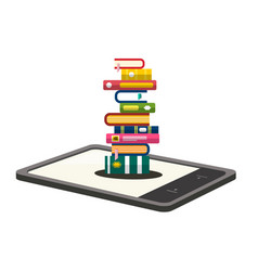 e-book reader with books pile illsutration vector image vector image
