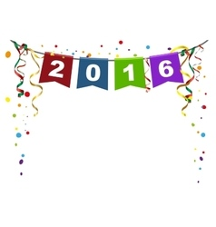 2016 new year Flags Christmas garland and vector image
