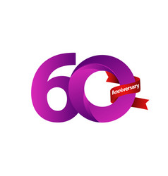 60 years anniversary celebration purple ribbon vector